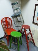 A GROUP OF FOUR ANTIQUE PAINTED STOOLS AND CHAIRS