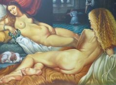 (ARR) MALCOLM MORRIS, TWO LARGE OILS ON CANVAS OF NUDES, SIGNED, 126 X 169CM (THE SMALLEST)