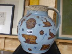 A LARGE ART POTTERY CREAM JUG IN THE 19TH.C.MANNER SIGNED MARTIN HOMER