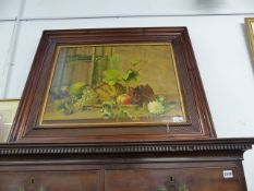 A LARGE STILL LIFE OIL PAINTING IN THE 18TH CENTURY STYLE OF A PARROT AND FRUIT