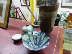THREE STUDIO POTTERY VASES AND A SMALL LIDDED DISH MONOGRAMNED MO