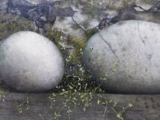 S.T. STUDY OF STONES, MOSS AND FRONDS, INITIALLED AND DATED '85 VERSO, MIXED MEDIA ON PANEL, 29 X
