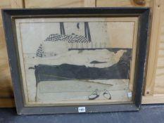 (ARR) A. SHOA, WOMAN ON A COUCH, PENCIL, 36 X 48CM