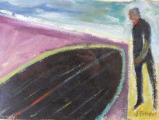 (ARR) JACK PENDER, MAN WITH UPTURNED PUNT, SIGNED, OIL ON PAPER, 20 X 28.5CM