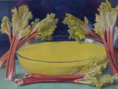 A.H. SANDS, STILL LIFE OF RHUBARB, SIGNED, WATERCOLOUR, 25.5 X 39.5CM