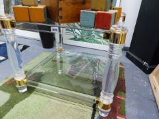 TWO LUCITE AND GLASS LOW OCCASIONAL TABLES