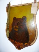 A PAIR OF 19TH CENTURY TOLE PAINTED HANGING CIRCUS PANELS OF SHIELD FORM. DECORATED ON BOTH SIDES