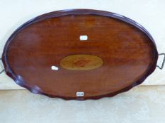 A GEORGIAN SATINWOOD AND INLAID GALLERY TRAY.