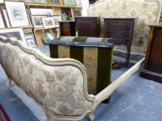 A FRENCH UPHOLSTERED DOUBLE BED