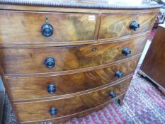 A WM.IV.MAHOGANY BOW FRONT CHEST OF TWO SHORT AND THREE LONG DRAWERS. 108 cms WIDE