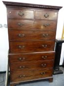 A GEO.III.MAHOGANY TALLBOY CHEST ON CHEST. 107cms WIDE