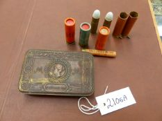 A SMALL COLLECTION OF ANTIQUE PIN FIRE AND OTHER SHOTGUN CARTRIDGES