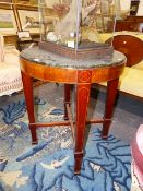 A 19TH.C.MAHOGANY MARBLE TOPPED CENTRE TABLE. 62cms DIAMETER