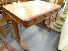 AN EARLY 19TH.C.MAHOGANY TWO DRAWER LIBRARY TABLE ON TRESTLE ENDS. 91cms WIDE