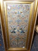 A PAIR OF CHINESE SILKWORK SLEEVE PANELS, FRAMED,