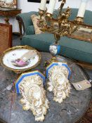 AN ORMOLU MOUNTED MEISSEN DISH, A SERVES STYLE ORMOLU MOUNTED CANDALABRUM AND A PAIR OF WALL