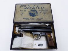 "A WEBLEY AIR PISTOL MARK I, IN .177 CALIBRE, SERIAL NO 15140, CONTAINED IN ITS ""NEW WEBLEY AIR"