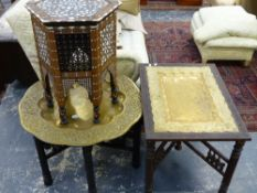 TWO EASTERN BRASS BENARES TABLE AND A SYRIAN INLAID TABLE.