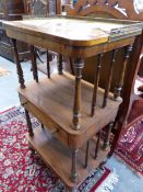 AN EARLY 19TH.C.ROSEWOOD THREE TIER WHATNOT WITH BRASS GALLERY UPPER TIER. 51cms WIDE.