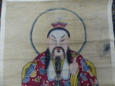 CHINESE SCHOOL, A SEATED DIGNITARY WATERCOLOUR, MOUNTED AS A SCROLL. 133x70cms.