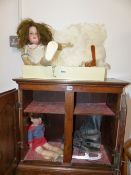 A COLLECTION OF VINTAGE COATS, DRESSES AND JACKETS, TWO DOLLS, A FAN, ETC