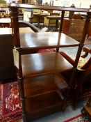 A MID VICTORIAN BURR WALNUT FIVE TIER WHATNOT WITH BASE DRAWER. 54cms WIDE