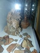 TWO POTTERY VASES AND VARIOUS ARCHAIC FRAGMENTS ETC