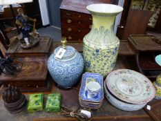 A COLLECTION OF VARIOUS ORIENTAL CERAMICS, CLOISONNE BOXES, LAMPS, ETC TO INCLUDE EXPORTWARE AND