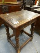 A 17TH.C.AND LATER OAK JOINT STOOL.