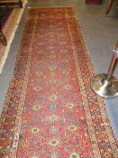 AN ANTIQUE PERSIAN TRIBAL RUNNER. 346x113cms.