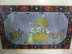 AN INDO PERSIAN ILLUMINATED MANUSCRIPT LEAF DEPICTING A TIGER HUNT AND ANOTHER OF A COURTING