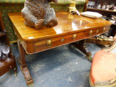 A GOOD REGENCY ROSEWOOD AND ORMOLU MOUNTED LIBRARY TABLE.