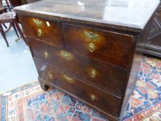 AN 18TH.C.OAK SMALL CHEST OF TWO SHORT AND TWO LONG DRAWERS. 79cms WIDE