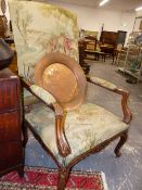 A LARGE 19TH.C. FRENCH SHOW FRAME ARMCHAIR WITH TAPESTRY UPHOLSTERY. 77cms WIDE