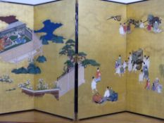 JAPANESE SCHOOL, A PAIR OF TWO PANEL FLOOR SCREENS DEPICTING A CONTINUOUS SCENE OF FIGURES IN A