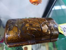 AN ANTIQUE JAPANESE LACQUERED INRO IN FIVE SECTIONS WITH GILDED EAGLE AND PHOENIX DESIGNS ON A GOLD