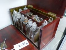 A 19TH.C.MAHOGANY CASED APOTHECARY'S BOX WITH FITTED BOTTLES.