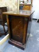 A PAIR OF 19TH.C.OAK PEDESTAL SIDE CABINETS. 45cms WIDE