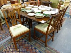 A SET OF TEN ANTIQUE GEORGIAN STYLE MAHOGANY DINING CHAIRS TOGETHER WITH A MAHOGANY PAD FOOT DROP