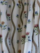 TWO LARGE PAIRS OF BESPOKE FLORAL PATTERN LINED AND INTERLINED CURTAINS OR DRAPES COMPLETE WITH
