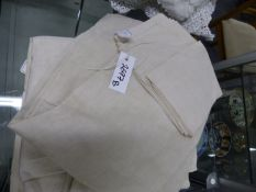 THREE HEAVY COTTON FRENCH MARRIAGE SHEETS APPROX 2.3 X 2M, MONOGRAMMED- 2.2 X 2M PLAIN WITH VENTED