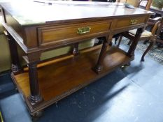 A TWO TIER SERVER LABELLED FOR HOWARD & SONS, 136cms WIDE