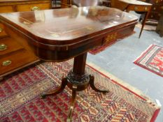 A REGENCY ROSEWOOD AND BRASS INLAID FOLD OVER CARD TABLE