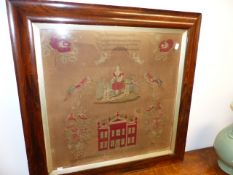 A VICTORIAN NEEDLEWORK PANEL WITH BUILDINGS, FLOWERS, BIRDS ETC, SIGNED MARY PREISTLY 1858 . IN