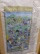 AN INDO PERSIAN ILLUMINATED MANUSCRIPT LEAF DEPICTING A BATTLE SCENE WITH INSCRIPTIONS AND ANOTHER