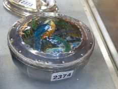AN ART NOUVEAU SILVER AND ENAMEL LIDDED BOWL, THE COVER DECORATED WITH AN ENAMELLED KINGFISHER IN