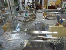 A 19TH.C.SILVER MOUNTED GLASS SWEETMEAT BASKET, LONDON 1811 WITH EIGHT SILVER COLOURED SPOONS, A