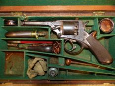 A GOOD ADAMS TYPE PERCUSSION REVOLVER. .80 bore- UNSIGNED SERIAL NUMBER ENGRAVED 20499T. UNUSUAL