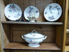 A MATCHED FRENCH AND ENGLISH 19TH CENTURY FLORAL DECORATED PART DINNER SERVICE ETC.