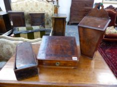 TWO GEORGIAN CANDLE BOXES AND AN INLAID SLOPE TOP TABLE BOX